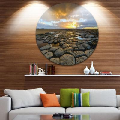 Design Art Kirkjugolf Church Floor at Sunrise Seascape Metal Circle Wall Art