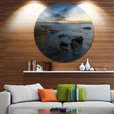 Design Art Bluish Sunset at La Perouse Sydney Large Seashore Metal Circle Wall Art