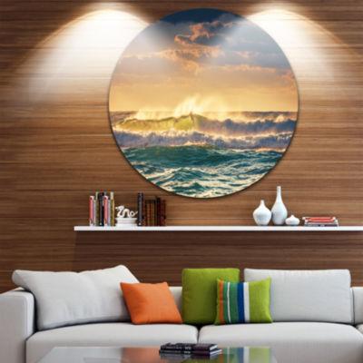 Design Art Sunrise and Shining Waves in Ocean Seascape Metal Circle Wall Art