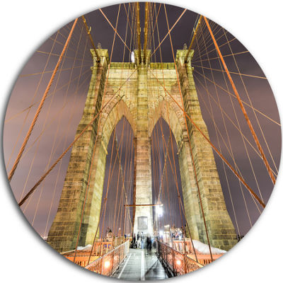 Design Art Brooklyn Bridge Tower and Cabling UltraGlossy Cityscape Circle Wall Art