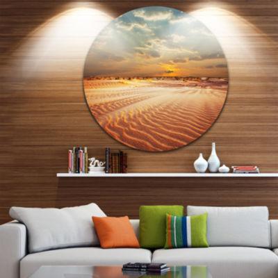 Design Art Red Desert under Blue Cloudy Skies Landscape Metal Circle Wall Art