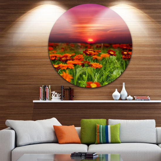 Design Art Sunset Flowers with Red Sky Landscape Metal Circle Wall Art