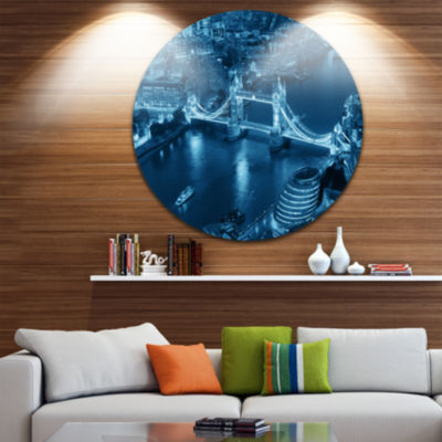 Design Art Blue London Night Aerial View Ultra Glossy Cityscape Metal Circle Wall Art