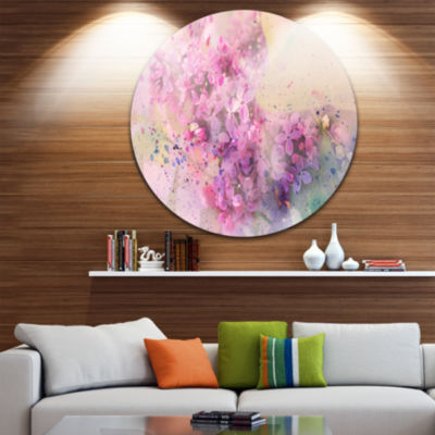 Design Art Twig of Lilac Flowers Ultra Glossy Floral Metal Circle Wall Art
