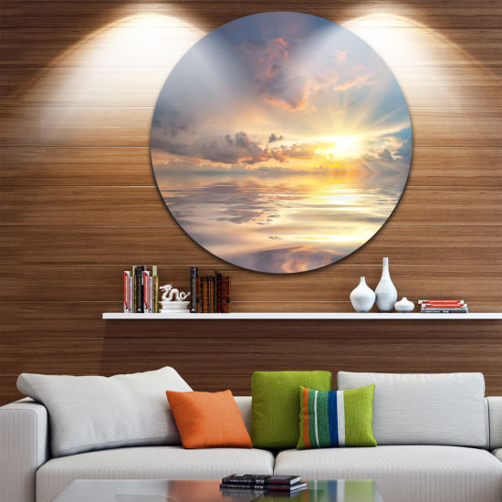 Design Art Sunset Over Sea with Reflection Landscape Metal Circle Wall Art