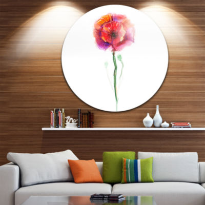 Design Art Isolated Poppy Flower in Full Bloom Large Flower Metal Circle Wall Art