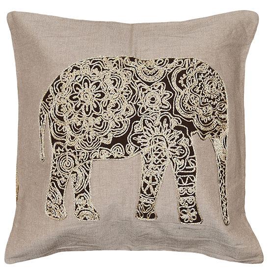 Tabul Elephant 18x18 Square Throw Pillow