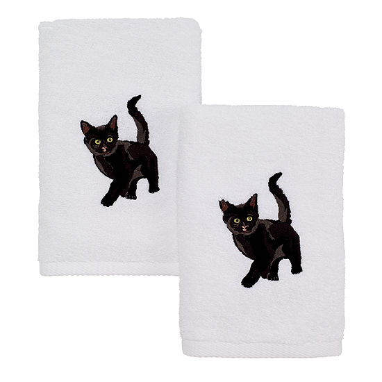 Avanti Black Cat Embroidered Hand Towel 2-pc