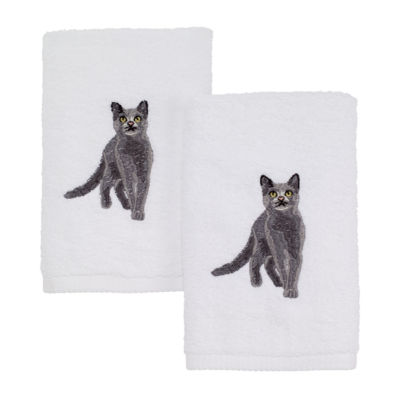 Avanti Grey Cat 2-pc. Embroidered Hand Towel