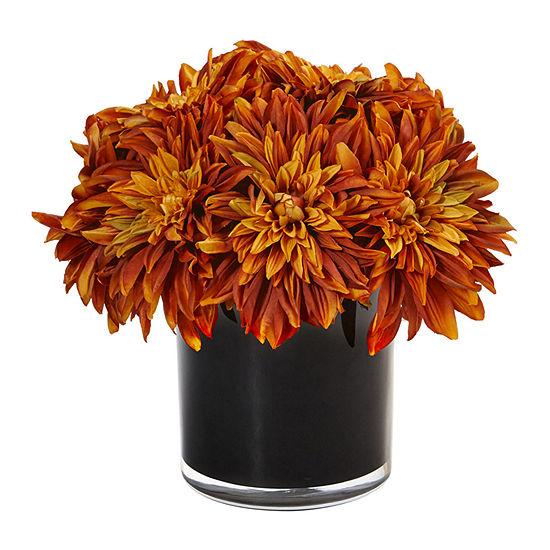 Dahlia and Mum Silk Arrangement in Black Glossy Cylinder Vase