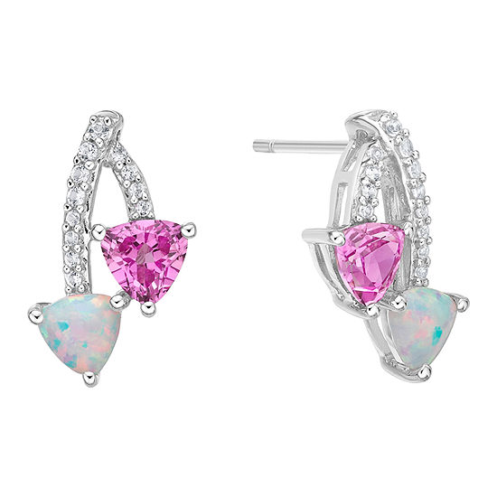 Lab Created Opal and Pink & White Lab Created Sapphire Sterling Silver Drop Earrings