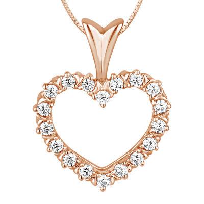 Womens 1/4 CT. T.W. Genuine White Diamond 10K Rose Gold Heart Pendant Necklace