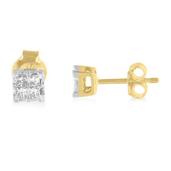 1 4 Ct Tw Genuine White Diamond 10k Gold 15mm Stud Earrings