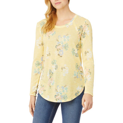Wallflower Womens Round Neck Long Sleeve Knit Blouse-Juniors