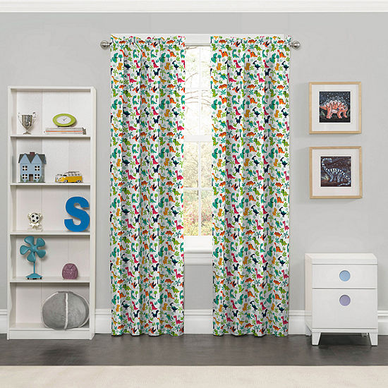 Eclipse Dippy Dinos Blackout Rod-Pocket Curtain Panel