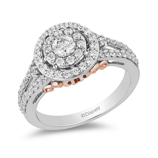 Enchanted Disney Womens 1 CT. T.W. Genuine White Diamond 14K Rose Gold Engagement Ring