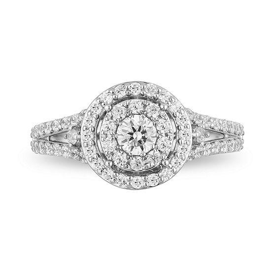 Enchanted Disney Womens 1 CT. T.W. Genuine White Diamond 14K Rose Gold Engagement Ring