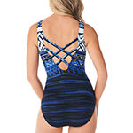 St. John's Bay Bordered One Piece Swimsuit
