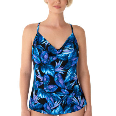 Vanishing Act By Magic Brands Control Leaf Tankini Swimsuit Top