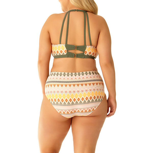 Allure By Img Chevron High Neck Swimsuit Top