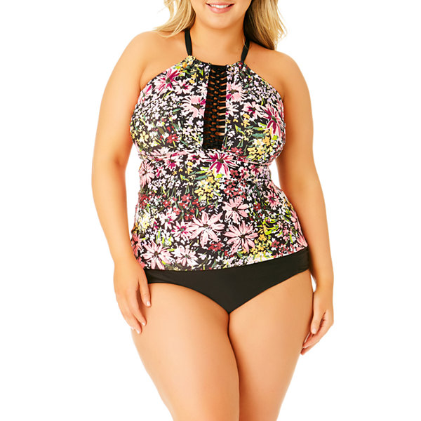 Allure By Img Floral Tankini Swimsuit Top-Juniors Plus