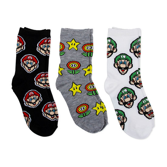 Super Mario 3 Pair Super Mario Crew Socks