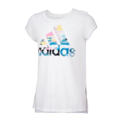 adidas Girls Round Neck Short Sleeve Graphic T-Shirt