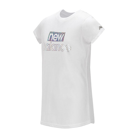 New Balance Spring 19 Round Neck Short Sleeve Moisture Wicking Graphic T-Shirt-Big Kid Girls
