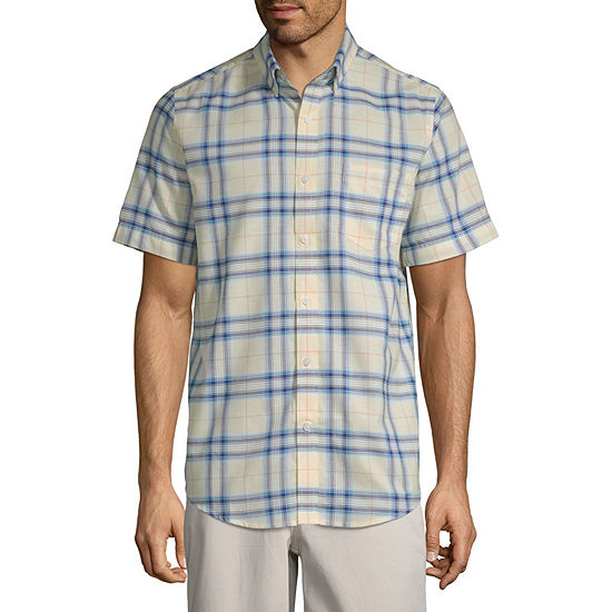 St Johns Bay Mens Short Sleeve Plaid Button Front Shirt