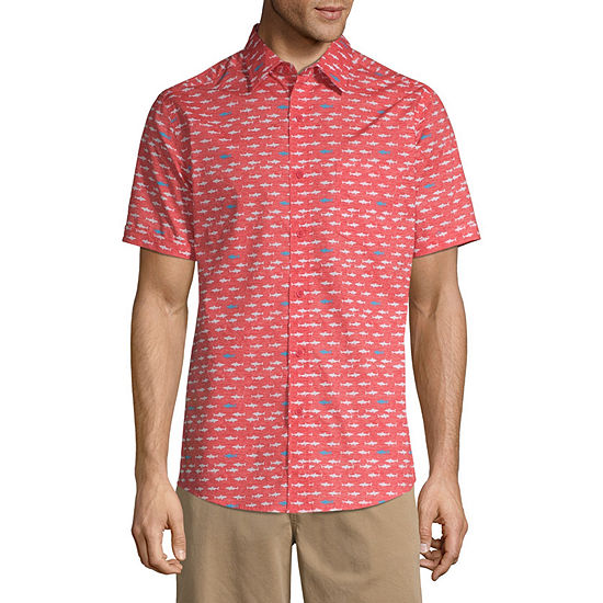 Haggar Mens Short Sleeve Button-Front Shirt