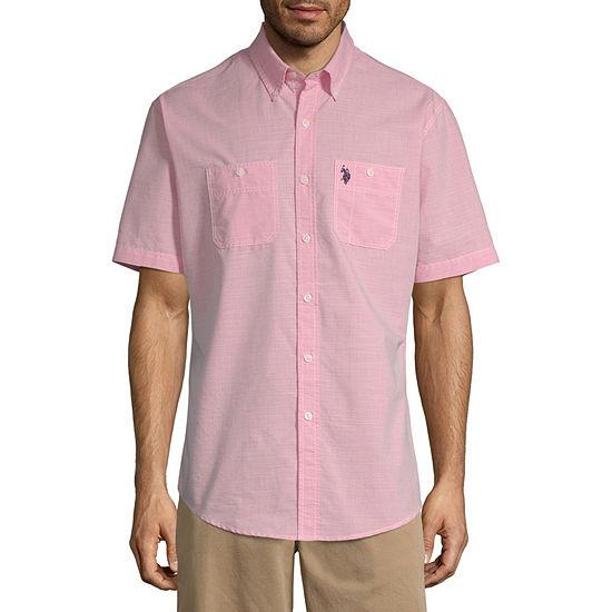 U.S. Polo Assn. Mens Short Sleeve Button-Front Shirt