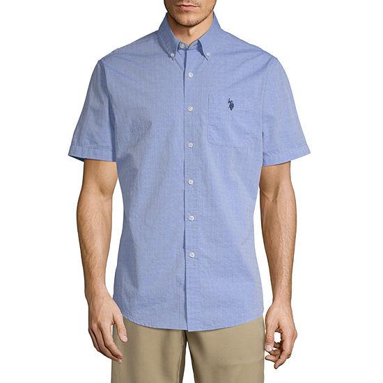 U.S. Polo Assn. Mens Short Sleeve Dots Button-Front Shirt