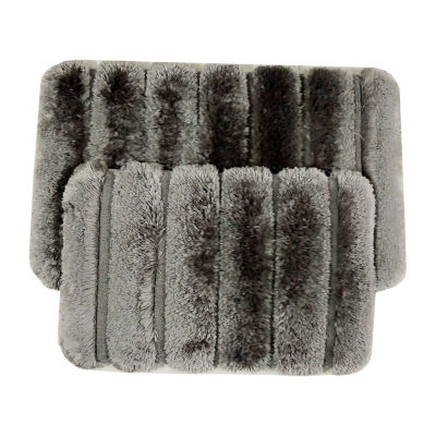Ribbed Pearl Plush 2-pc. Memory Foam Bath Rug Set