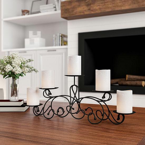 Trademark Fine Art Black 5 Piece Candle Holder