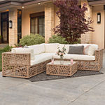 Random Weave Box Patio Sectional with Cushions