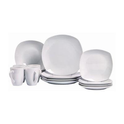 Tabletops Unlimited® Quinto White Porcelain Square 16-pc. Dinnerware Set