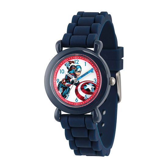 Marvel Captain America Boys Blue Strap Watch-Wma000028