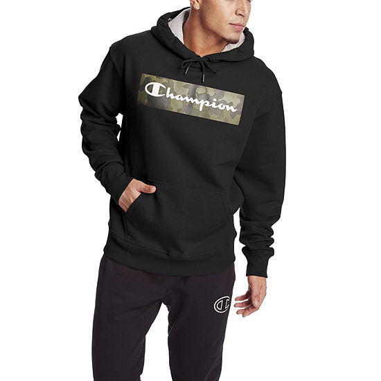 Champion Powerblend Screen Print Mens Long Sleeve Hoodie