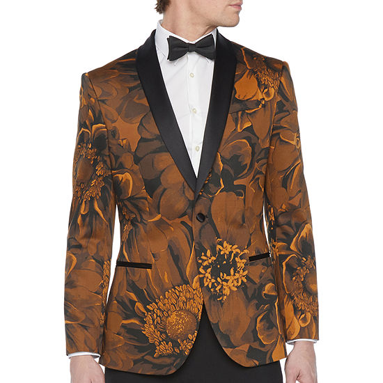 JF J.Ferrar Mens Floral Stretch Classic Fit Tuxedo Jacket