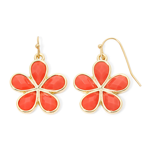Liz Claiborne® Orange Stone Flower Drop Earrings