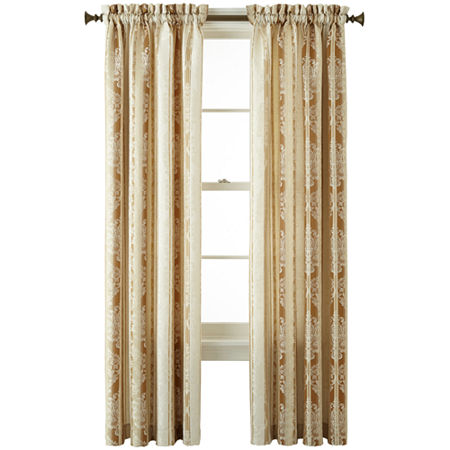 JCPenney Home Regan Light-Filtering Rod-Pocket Single Curtain Panel, One Size , Yellow