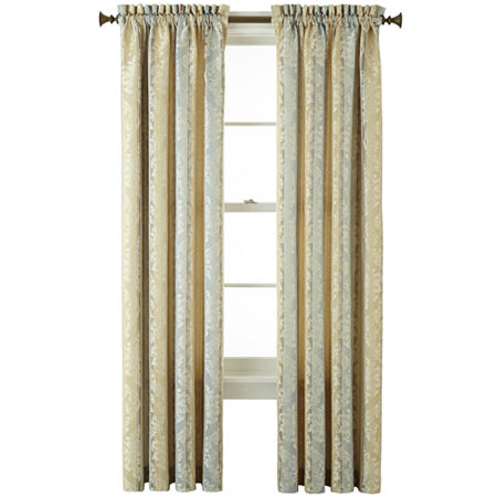 JCPenney Home Regan Light-Filtering Rod-Pocket Single Curtain Panel, One Size , Blue