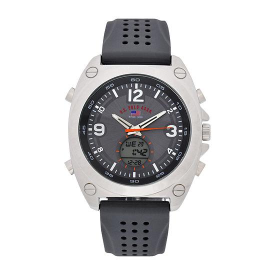 U.S. Polo Assn. Mens Black Strap Watch-Us9666jc