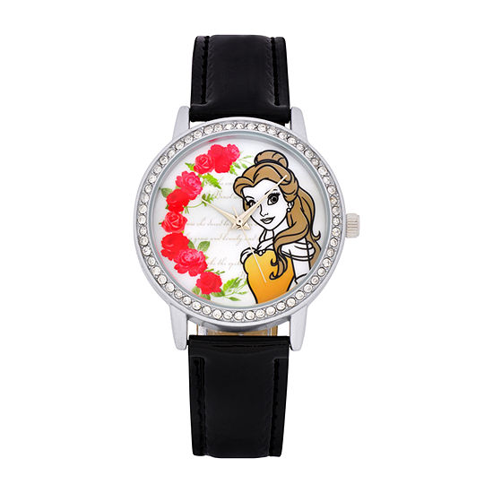Disney Collection Beauty and the Beast Womens Black Strap Watch-Pn1562jc