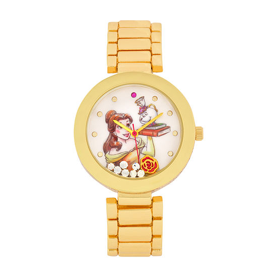 Disney Beauty and the Beast Womens Gold Tone Stainless Steel Bracelet Watch-Pn2076jc