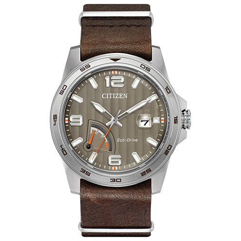 Citizen Mens Brown Strap Watch-Aw7039-01h