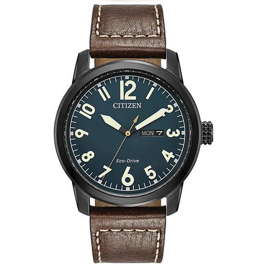 Citizen Chandler Mens Brown Leather Strap Watch-Bm8478-01l