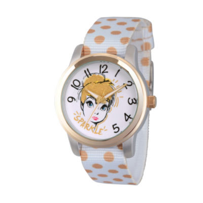 Disney Tinker Bell Womens White Strap Watch-Wds000063