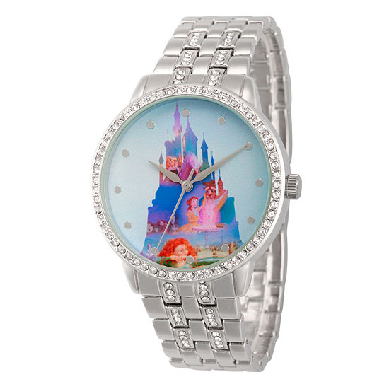 Disney Disney Princess Womens Silver Tone Stainless Steel Bracelet Watch-Wds000066
