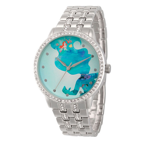 Disney The Little Mermaid Womens Silver Tone Bracelet Watch-Wds000067